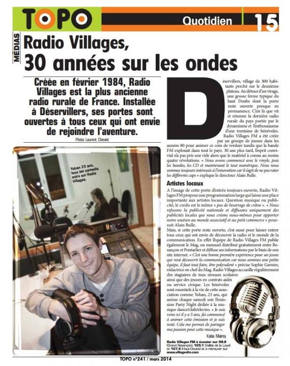 2014 - 30 ans de Villages FM dans Topo