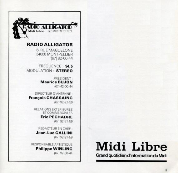1984 - Plaquette de Radio Alligator (02)
