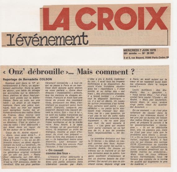 1978 - La Croix le 7 juin
