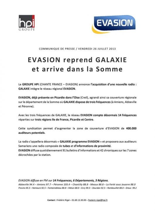 2013 - Reprise par Evasion