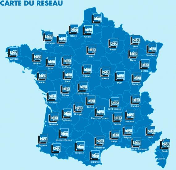 2018 - Carte du réseau France Bleu