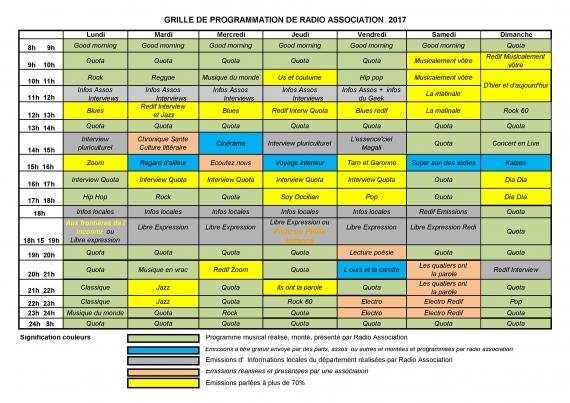 2017 - Grille des programmes