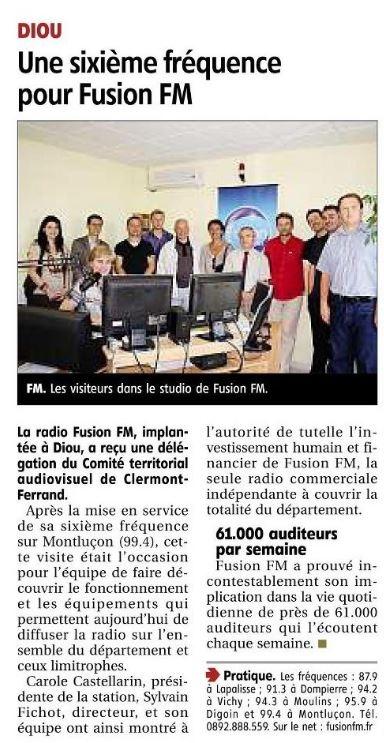 2011 - 22 septembre article du journal La Montagne