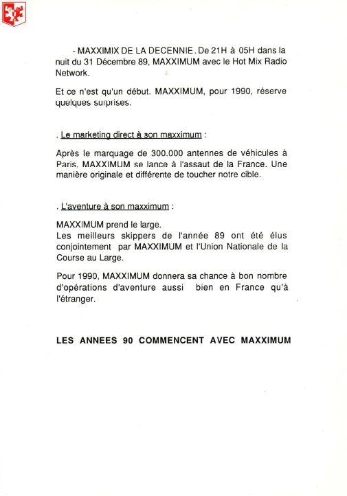 1990 - Dossier de Presse Maxximum