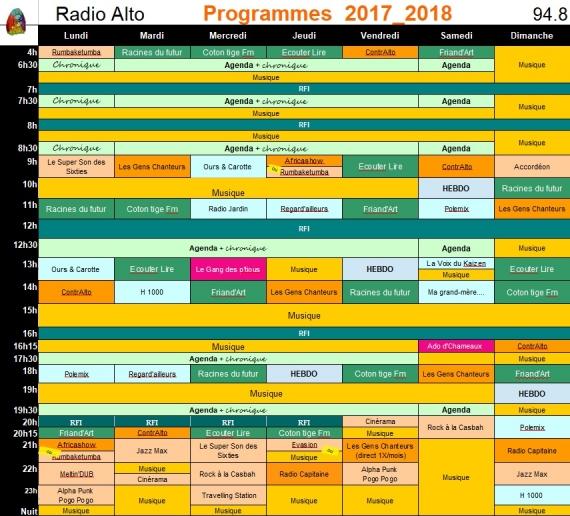2017 - 2018  Grille des programmes